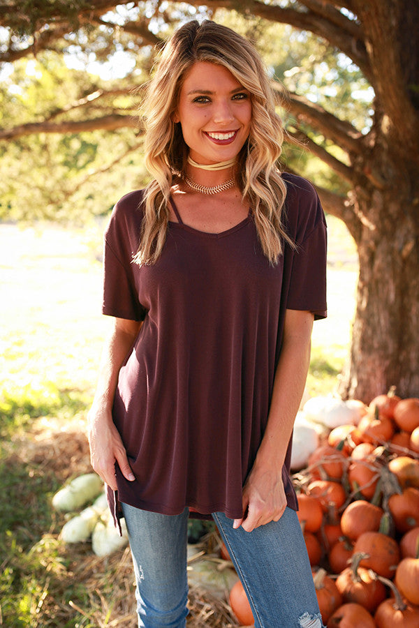 Call Me Queen Cut Out Top in Windsor Wine