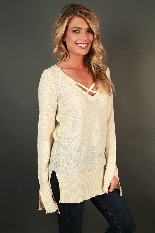 Daring Darling Cut Out Tunic in Cream