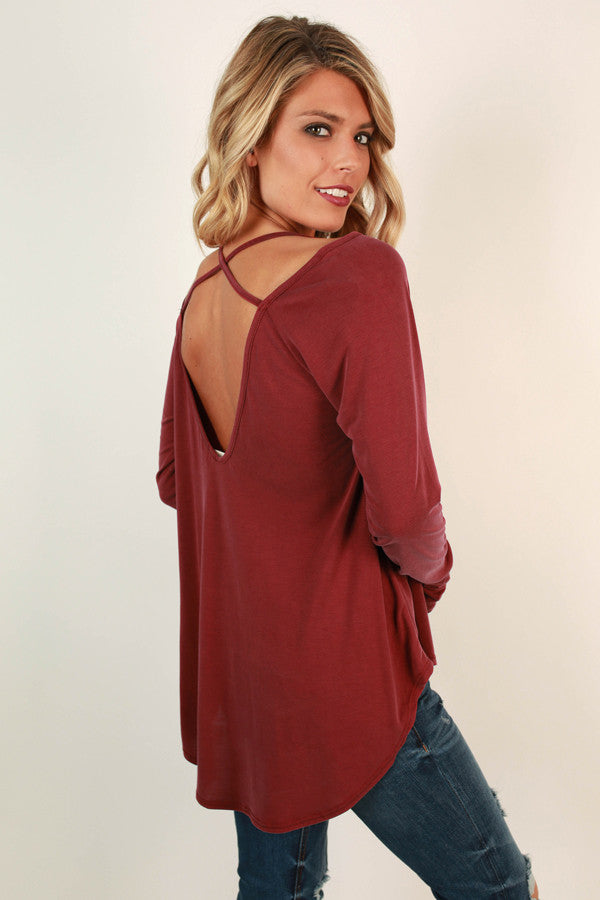 Saturday Social Top in Crimson