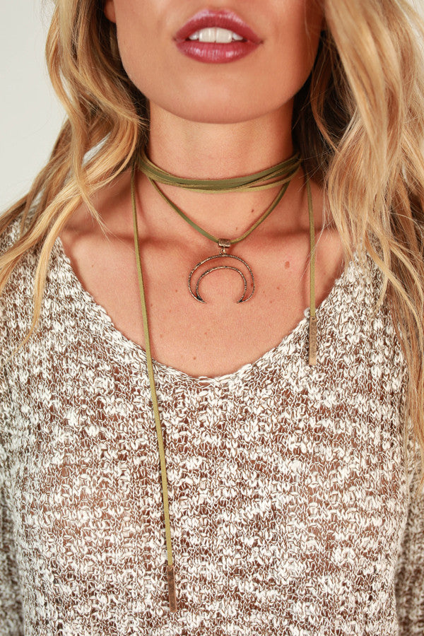 Midnight Moonlight Choker in Sage