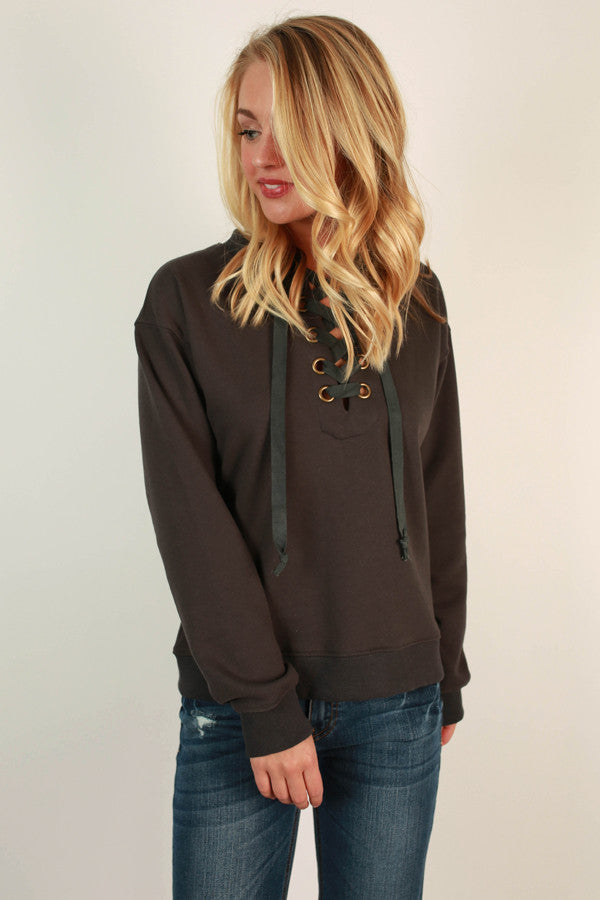 Forever Yours Lace Up Sweater