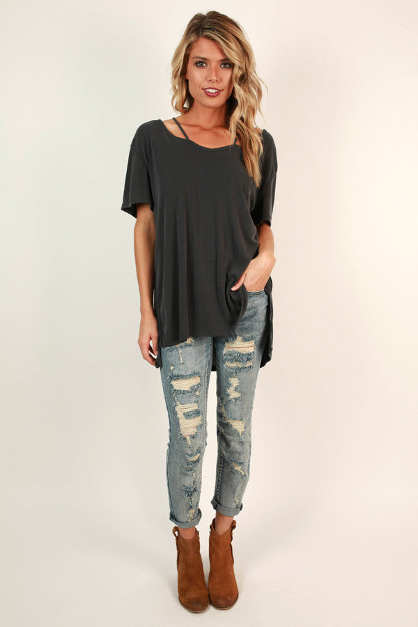 Call Me Queen Cut Out Top in Charcoal