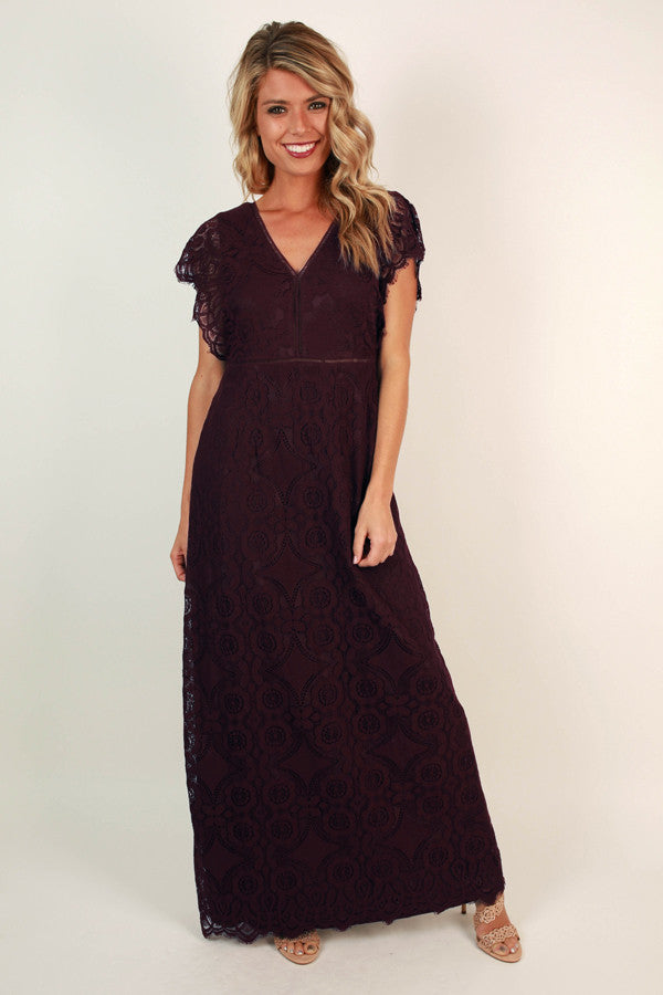 Striking A Pose Lace Maxi in Wine