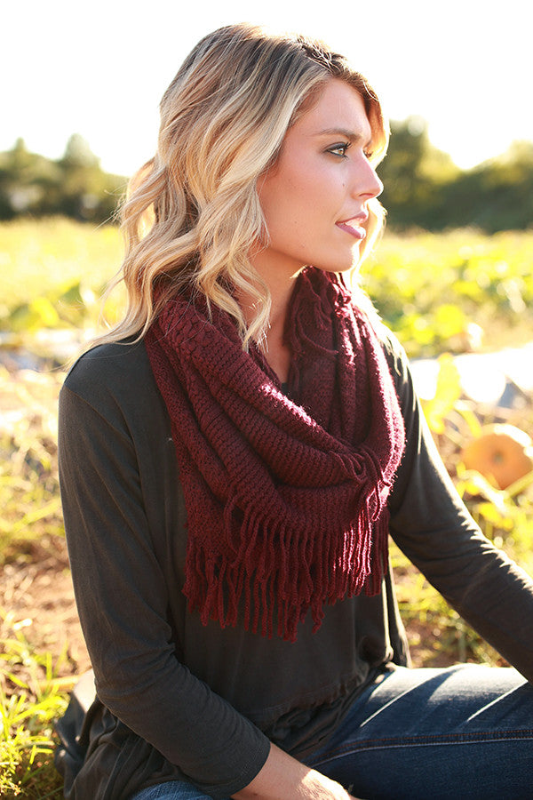 Cozy Chic Infinity Scarf in Maroon
