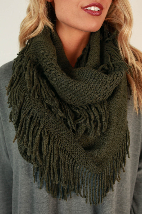 Cozy Chic Infinity Scarf in Army Green