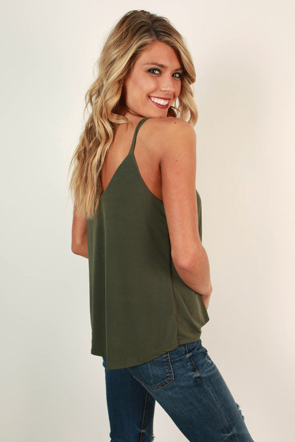 Memories In The Making Tank in Army Green
