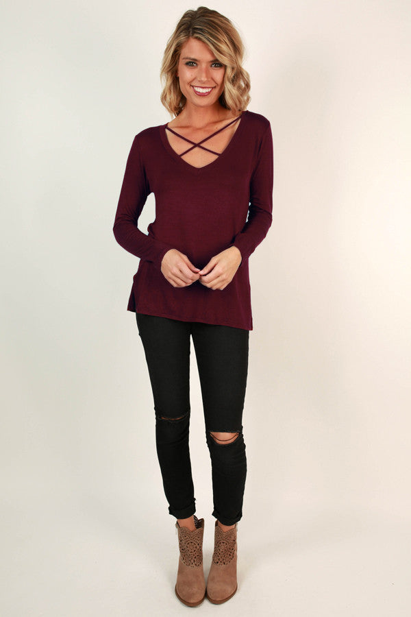 Adventurous Soul Criss Cross Top in Wine