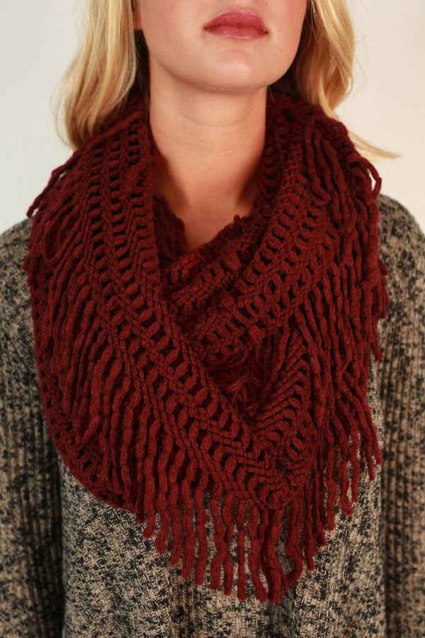 Cozy Cuddles Infinity Scarf in Crimson