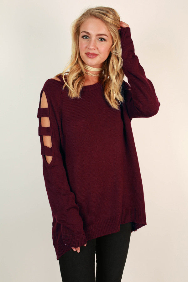 Sass & Spice Tunic Sweater in Wine