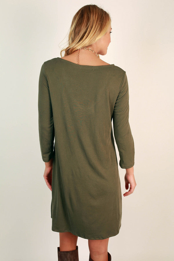 Hung Up On Hollywood Shift Dress in Army Green