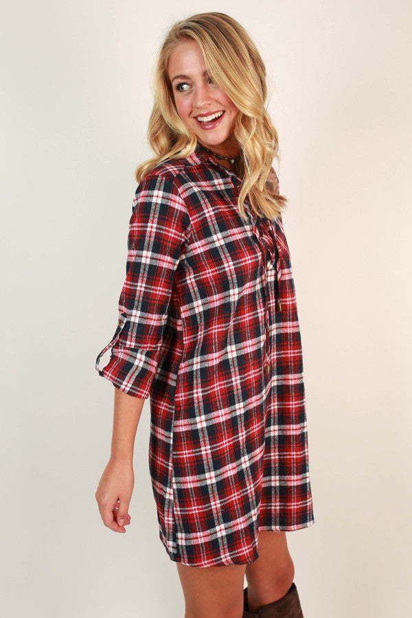 Plaid To The Bone Shift Dress