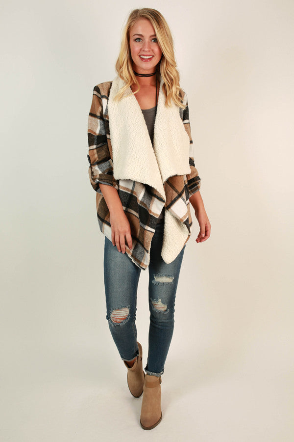 Colorado Is Calling Plaid Blazer In Warm Taupe