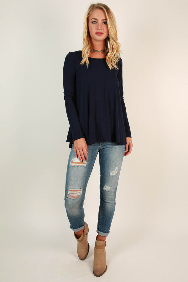 Tag You're It Criss Cross Top In Navy