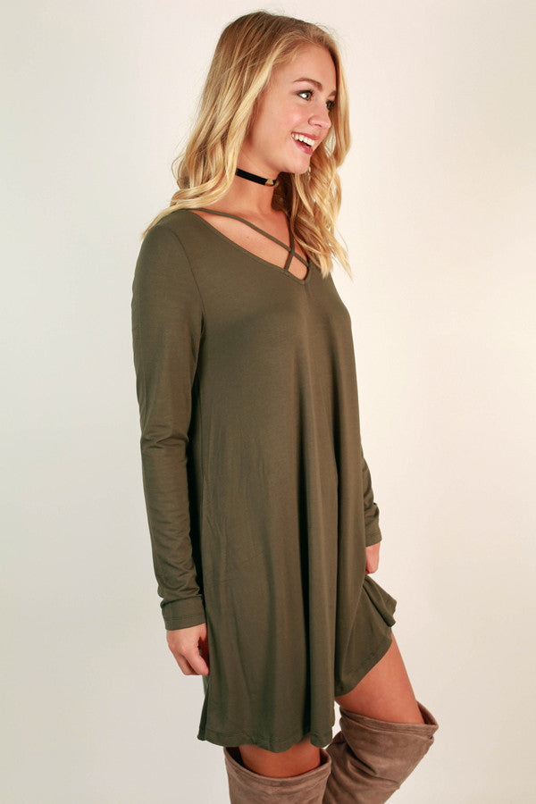 LA Night Life Shift Dress in Army Green