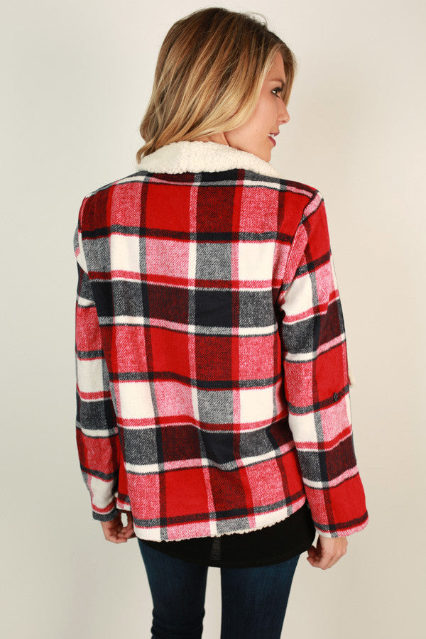 Colorado Is Calling Plaid Blazer In Cardinal