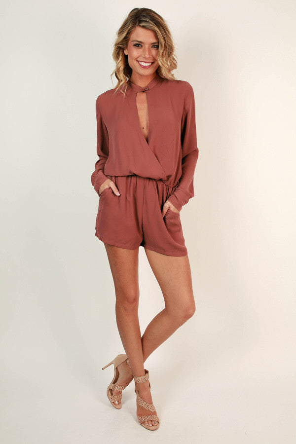 Front Row At Fashion Week Romper in Rustic Rose