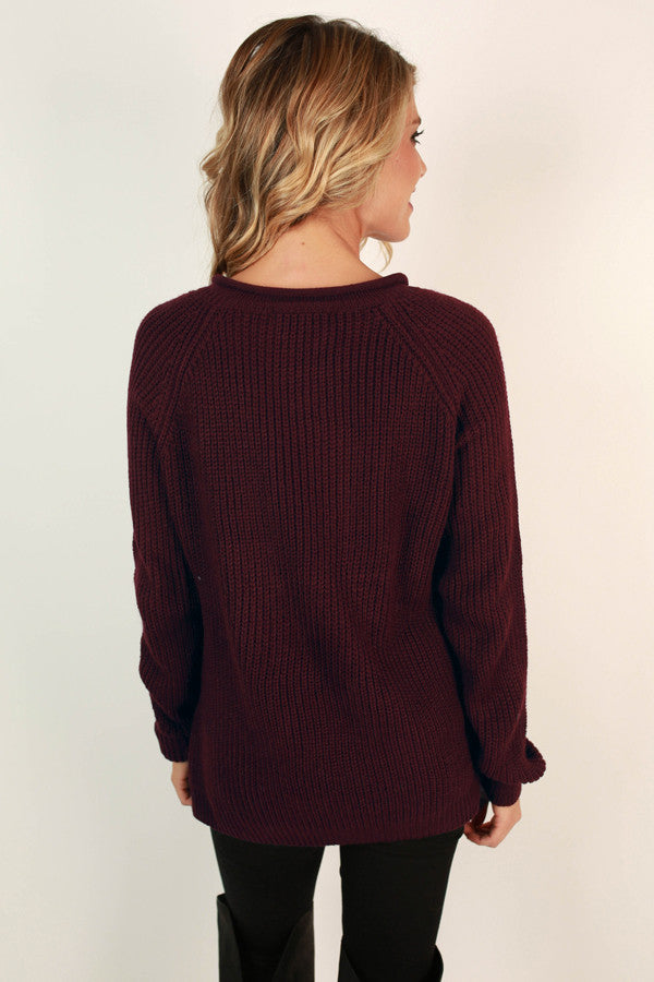 Easy Like Sunday Morning Sweater in Maroon