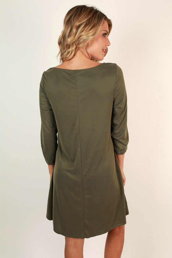 Soho Weekend Cut Out Shift Dress in Army Green