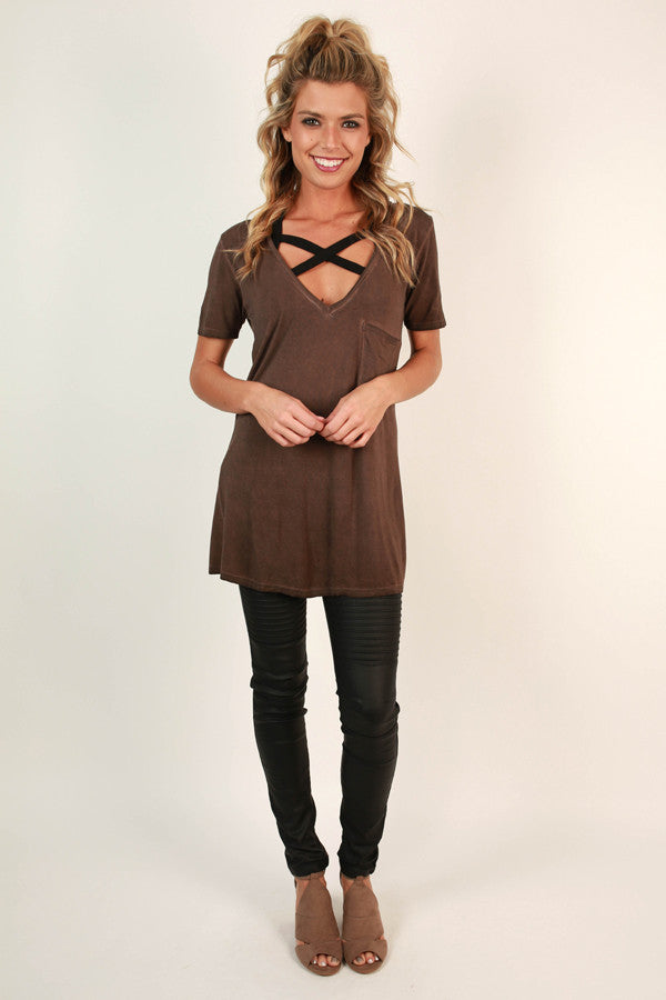 V-Neck Vintage Tee in Chestnut