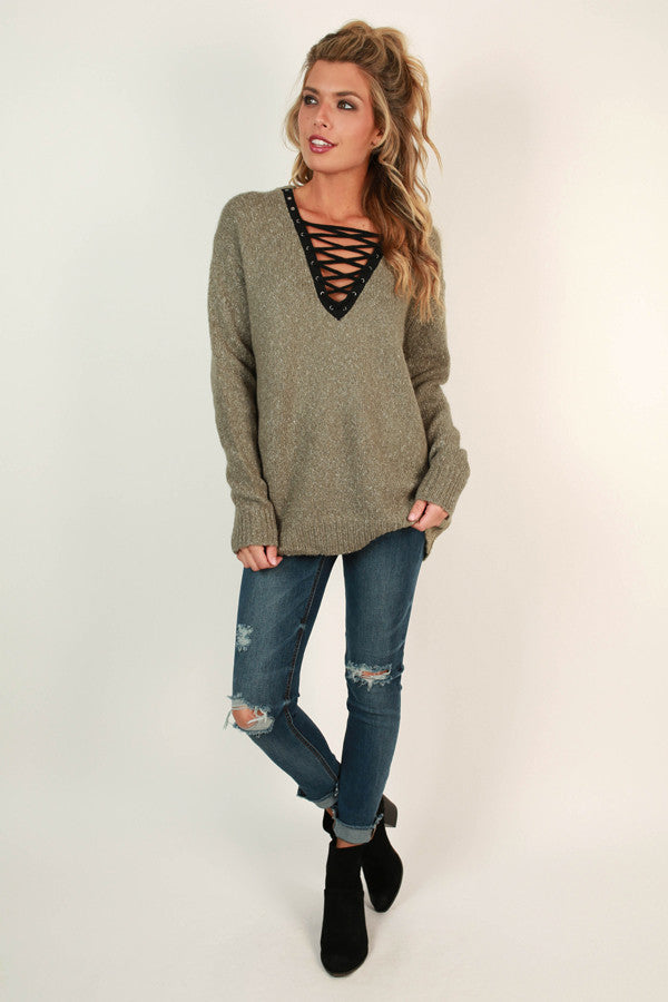 Lace Up Luxe Tunic Sweater in Sage