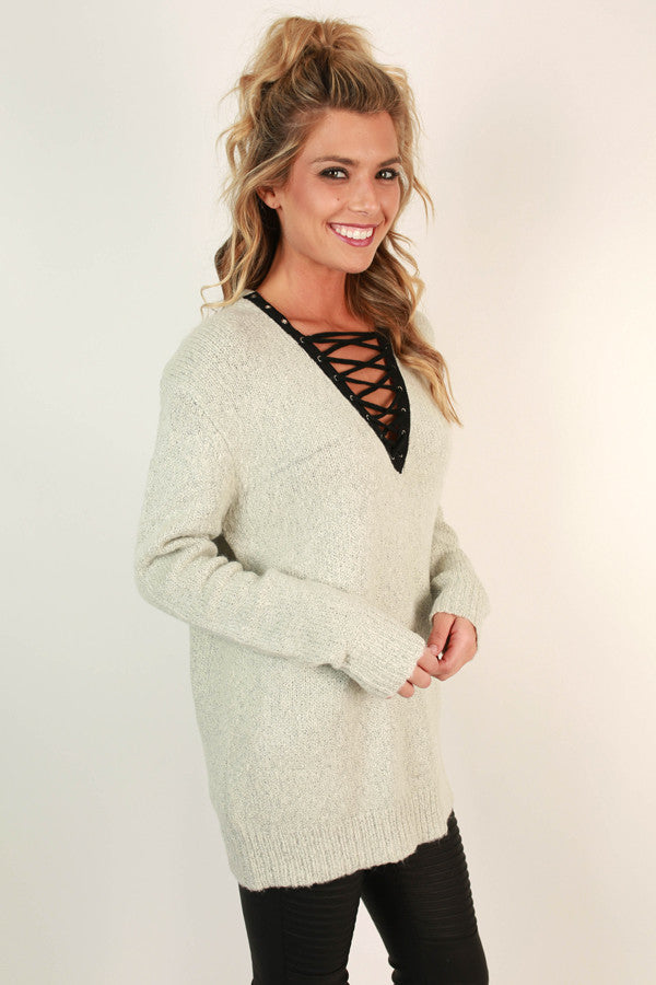 Lace Up Luxe Tunic Sweater in Light Grey