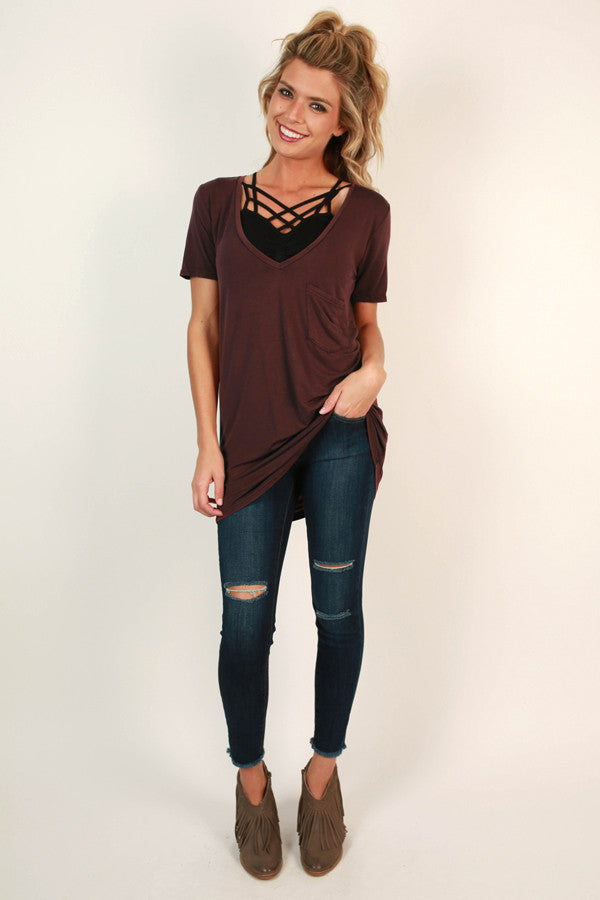 V-Neck Vintage Tee in Maroon
