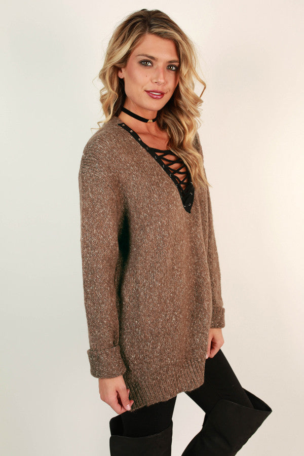 Lace Up Luxe Tunic Sweater in Mocha