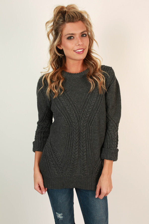 Sugar and Snuggs Knit Sweater in Charcoal