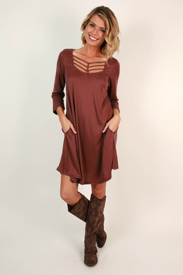 Soho Weekend Cut Out Shift Dress in Rustic Rose