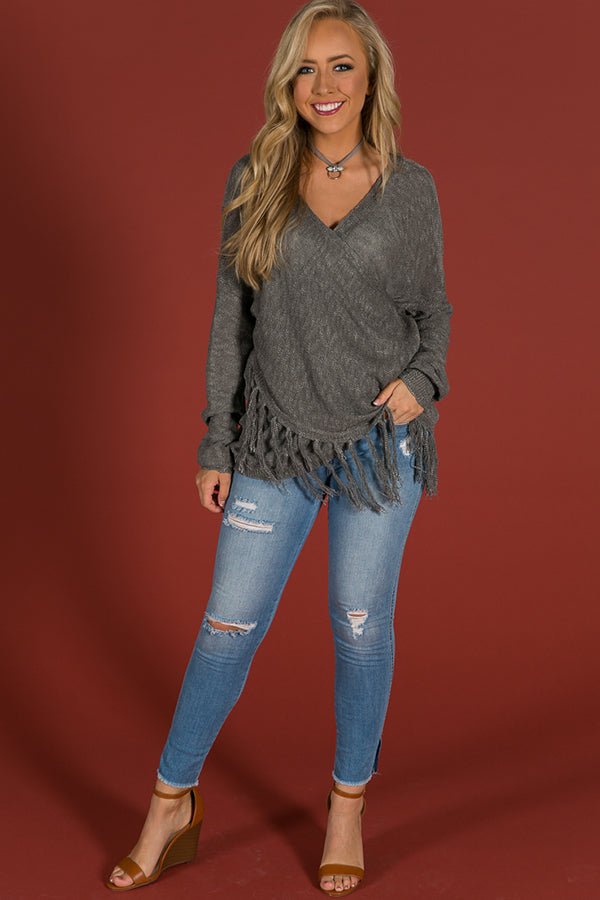 Memories In The Making Wrap Sweater in Fog