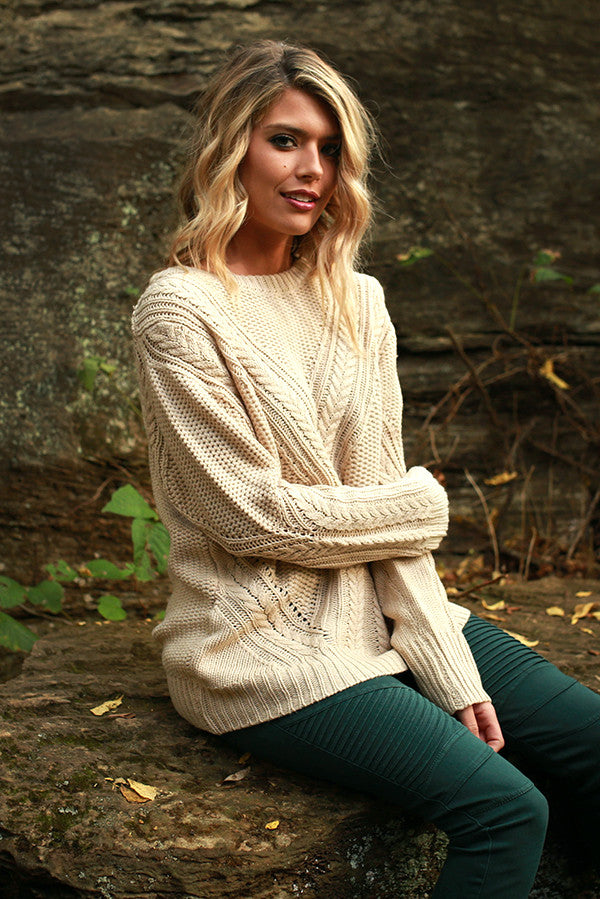 Sugar and Snuggs Knit Sweater in Stone