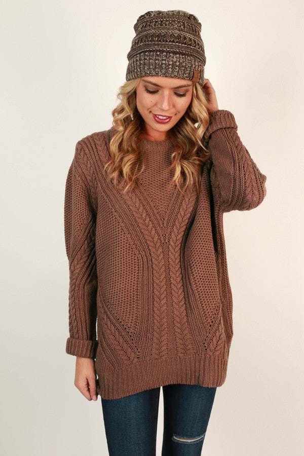 Sugar and Snuggs Knit Sweater in Rustic Rose