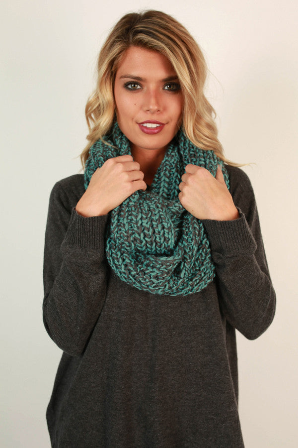 Simply Beautiful Infinity Scarf in Turquoise