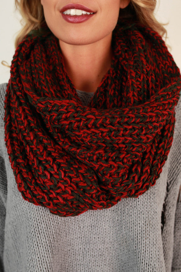 Simply Beautiful Infinity Scarf in Crimson