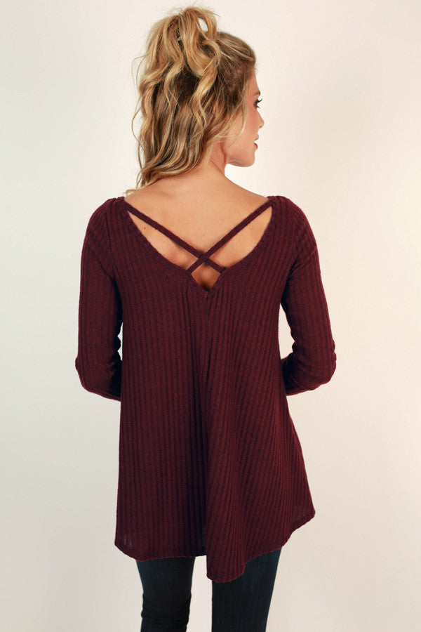 Hopeless Romantic Cut Out Sweater in Wine