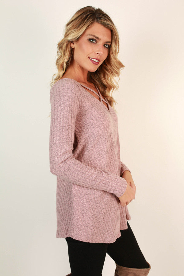 Hopeless Romantic Cut Out Sweater in Blush