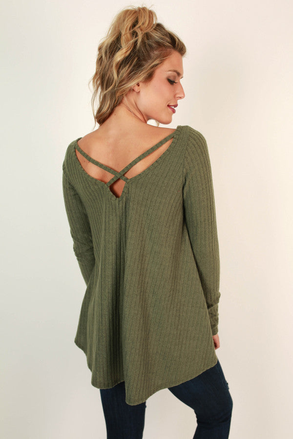 Hopeless Romantic Cut Out Sweater in Olive