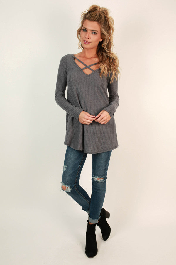 Hopeless Romantic Cut Out Sweater in Fog