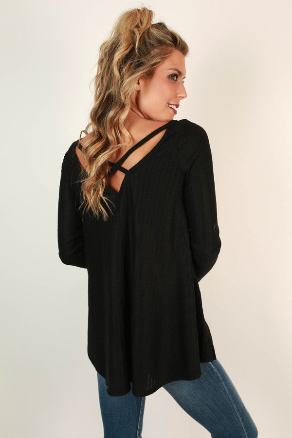 Hopeless Romantic Cut Out Sweater in Black
