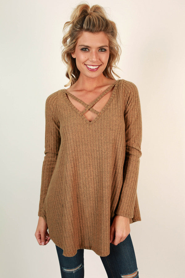 Hopeless Romantic Cut Out Sweater in Copper