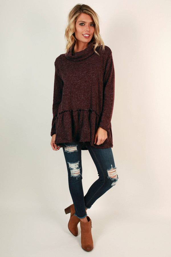 Love You A Latte Babydoll Sweater in Maroon