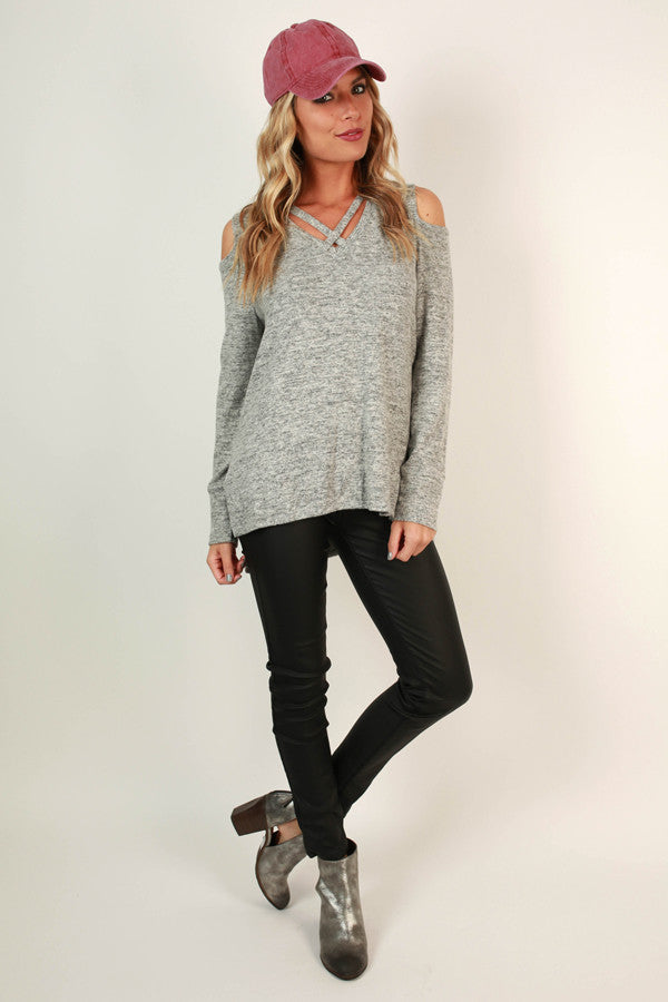 The Cold Shoulder Top in Grey