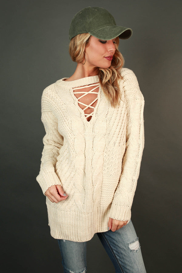 Swiss Alps Getaway Sweater in Ivory