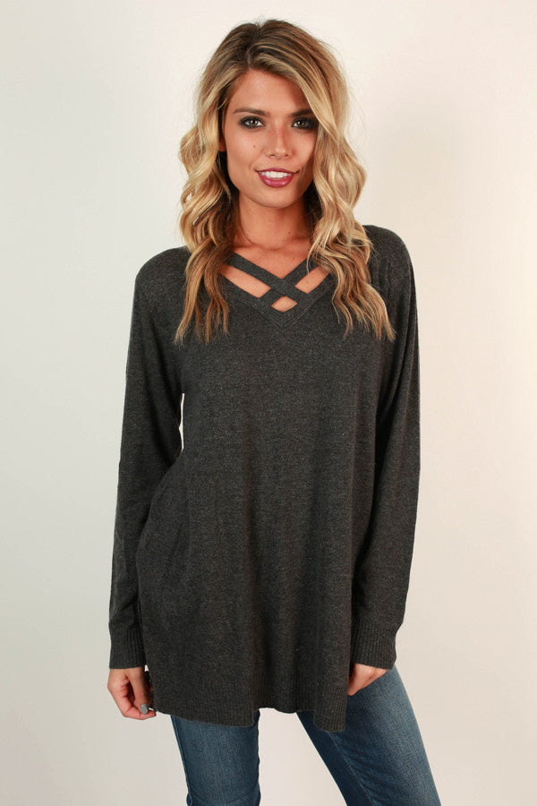 Bonfire Beauty Sweater in Charcoal