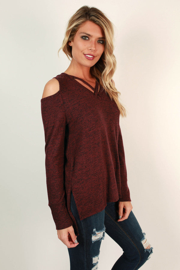 The Cold Shoulder Top in Wine