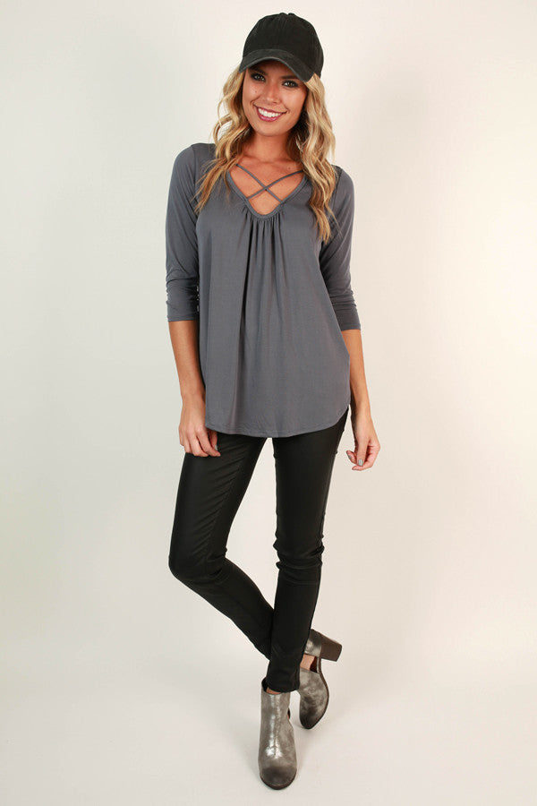 Total Adoration Shift Top in Dark Grey
