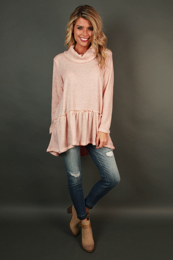 Love You A Latte Babydoll Sweater in Light Peach