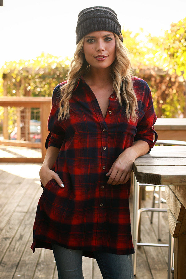 Fireside Flannel Tunic in Red