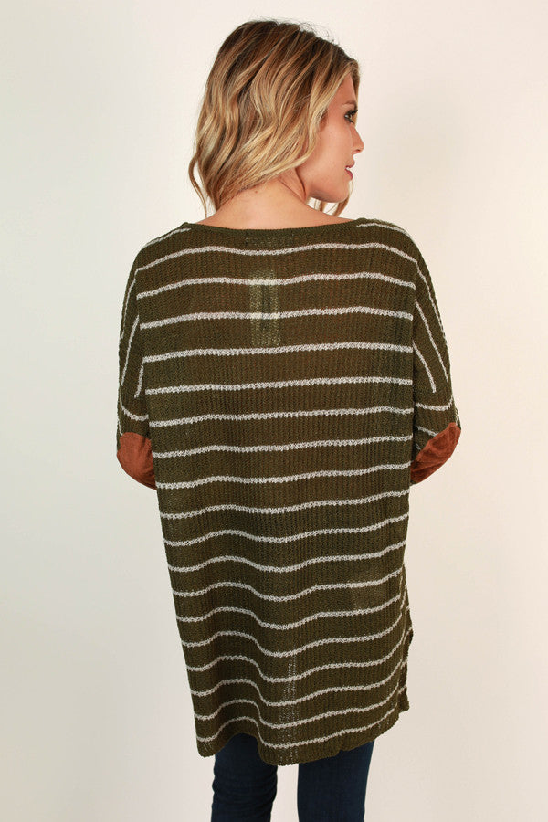 Striped Vacation Elbow Patch Sweater