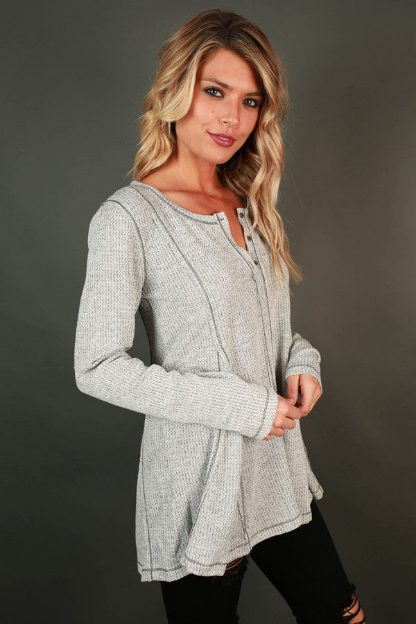 Wake Up Call Henley Top in Grey